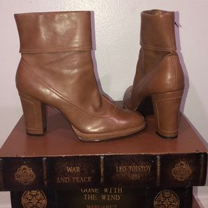 Mid calf brown with tan stitching boots